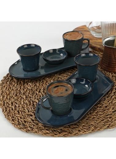 Keramika Keramika Lapis Kahve Sunum Seti 8 Parça 2 Kişilik Renkli